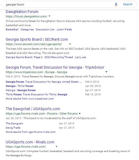 keyword research georgia forum